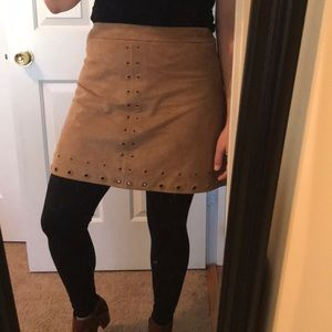 Express Tan Suede Mini Skirt w Grommets